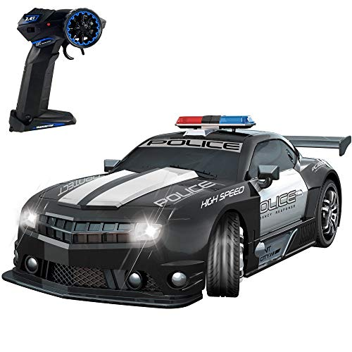 Haktoys 2.4GHz Super Fast 1:12 Scale RC Police Sports Race Car, Amazing Look & LED Lights, Radio Remote Control Hot Pursuit Cop Chase, Justice Enforcement Drift Patrol Vehicle, Great Gift for Kids